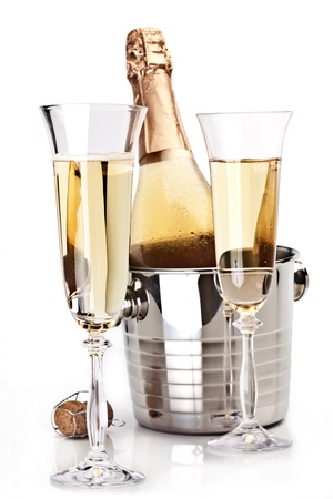gold flute: Two champagne glass with bottle on a white background