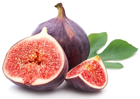 produce sections: Figs with leaves on a white background