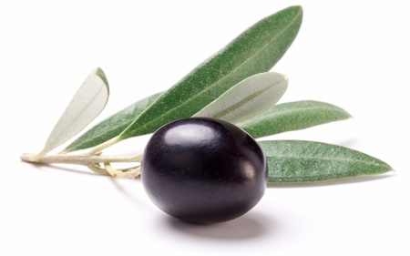black  olive: Ripe black olive with leaves on a white background  Stock Photo