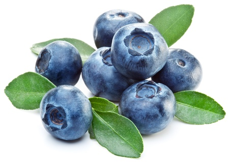 Blueberries with leaves on white background.
