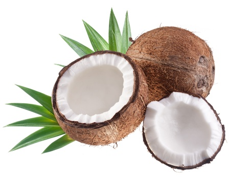 with coconut: Coconut with leaves