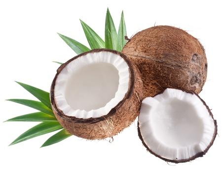 noix de coco: Noix de coco avec feuilles Banque d'images