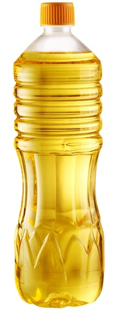 cooking oil: Cooking oil in a plastic bottle on a white background  File contains a path to cut