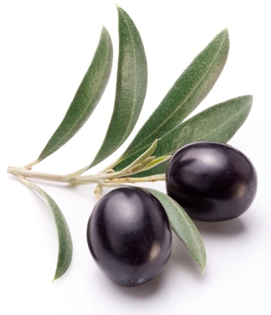 black  olive: Ripe black olives with leaves on a white background