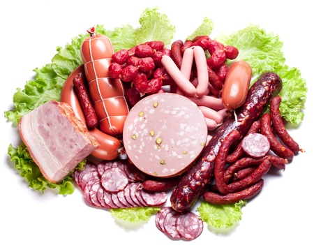 salami sausage: Meat and sausages on lettuce leaves  Isolated on white