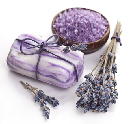 Soap with sea-salt and dried lavender  photo