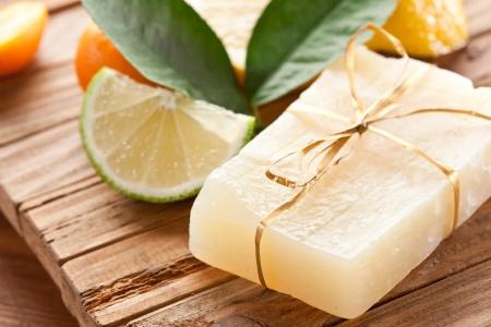 Piece of handmade lemon soap  Stock Photo