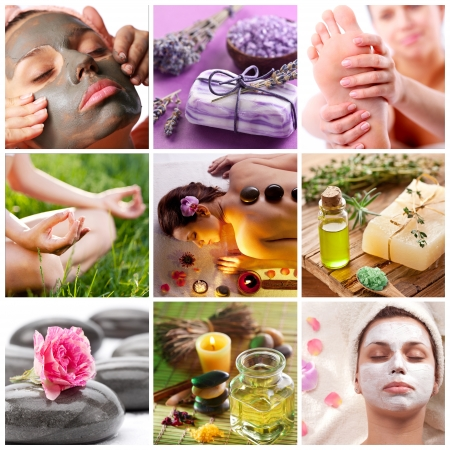 spa collage: Collection of spa treatments and massages