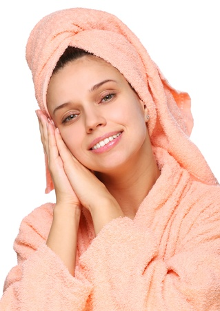 Young woman drys hairs with towel, isolated on a white background Stock Photo - 16521049