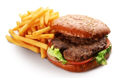 hamburger and french fries isolated on white background. photo