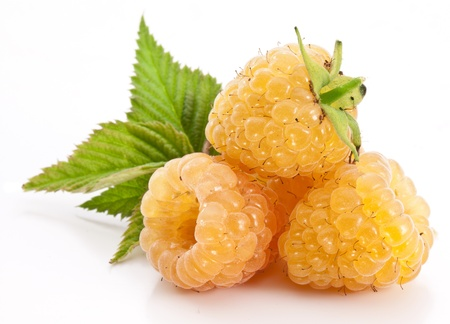 Yellow raspberries isolated on a white background