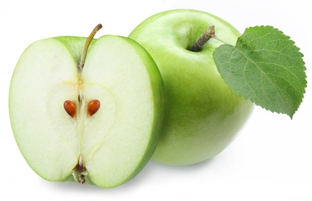 Green apple with half on a white background  photo