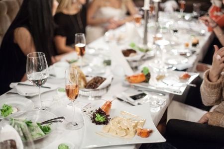 business event: Abstract image of a celebratory table