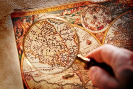 Viewed through a magnifying glass North America on the old map Stock Photo - 17276891