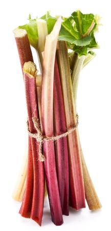 Rhubarb stalks on a white background  photo