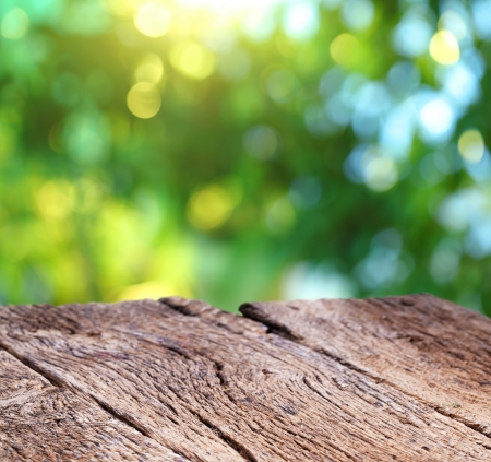 Blur background of nature with an old wooden board  Stok Fotoğraf