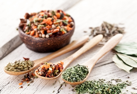 fennel seed: Variety of spices in the spoons on an white old wooden table