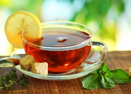 brown cup tea: Cup of tea on a blurred background of nature  Stock Photo