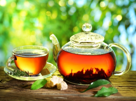 Cup of tea and teapot on a blurred background of nature