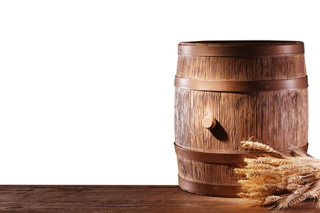 convex shape: Wooden barrel on a white background  File contains a clipping path