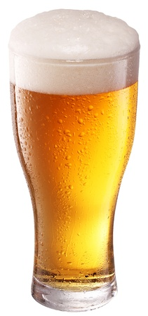 pint glass: Beer glass on white background  File contains a clipping path  Stock Photo