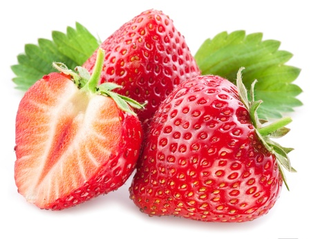 strawberry: Strawberries with leaves  Isolated on a white background