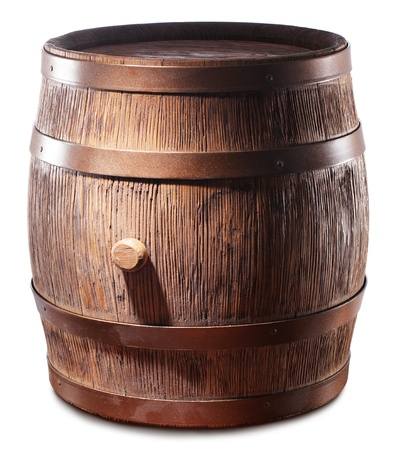 Wooden barrel with iron rings. Isolated on a white background. photo