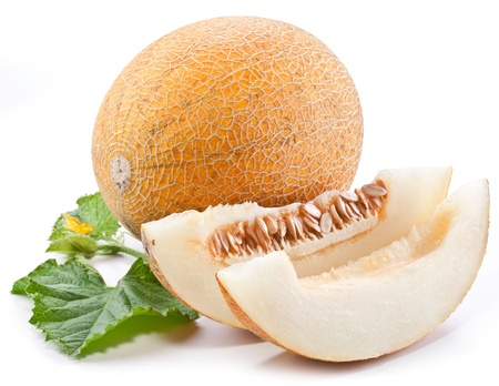 Melon with slices and leaves on a white background  photo