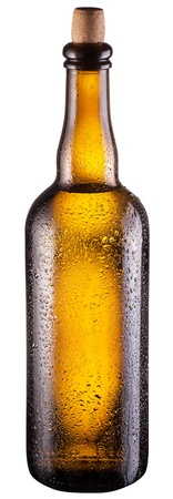 dewed: Bottle of beer isolated on a white background. Clipping path.