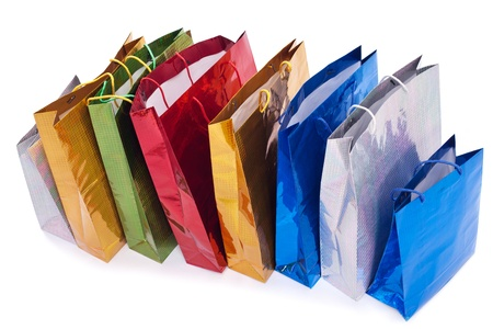 Colourful shopping bags isolated on white Stock Photo - 18958574