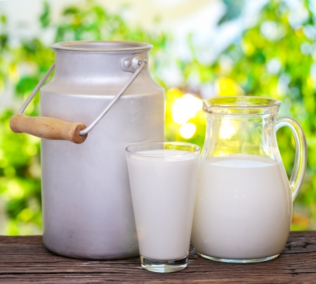 fresh milk: Milk in various dishes on the old wooden table in an outdoor setting