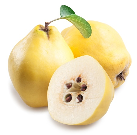 bitter fruit: Quince with slices on a white background