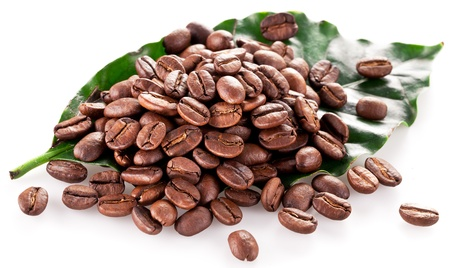 Coffee beans on leaf. Closeup snapshot on a white background. Stock Photo - 19004883