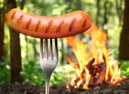 campfires: Sausage on a fork. In the background a bonfire in the forest.