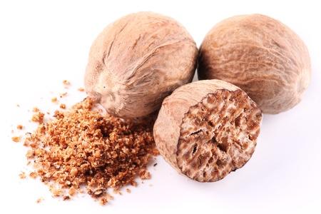 nutmeg: Nutmeg on a white background. Stock Photo