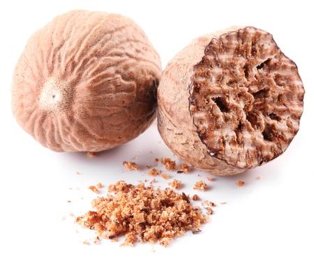 muscat: Nutmeg on a white background. Stock Photo