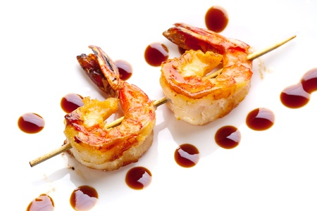 food state: grilled shrimp on skewers Stock Photo