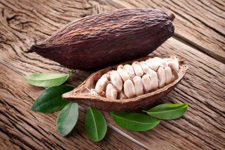 Cocoa pod on a dark wooden table. photo