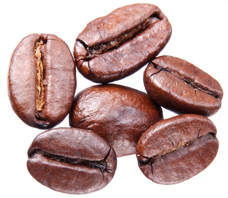 caffeine: Coffee beans isolated on white background. Stock Photo