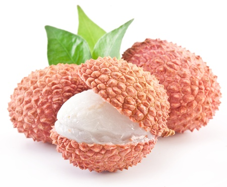 leechee: Lychee with leaves on a white background. Stock Photo