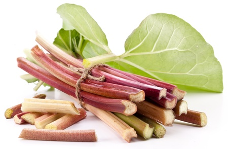 rhubarb: Rhubarb stalks on a white background.
