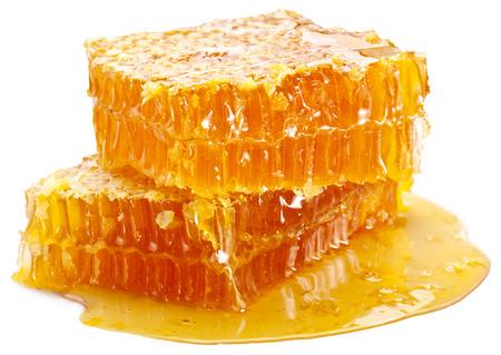 abejas panal: Nido de abeja sobre un fondo blanco.