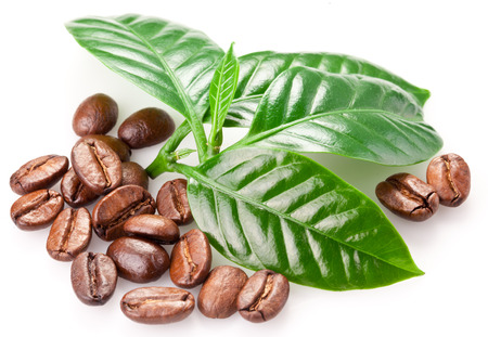 Roasted coffee beans and leaves isolated on a white background. Stock Photo