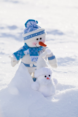Two funny snowmen with carrot nose in the snow
