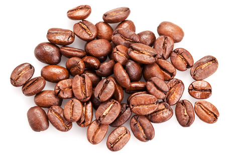 Roasted coffee beans and isolated on a white background. Stock Photo - 23321526
