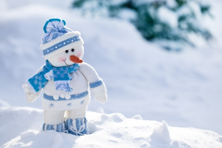 holiday backgrounds: Little snowman with carrot nose in the snow.