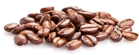 caffeine: Roasted coffee beans and solated on a white background.