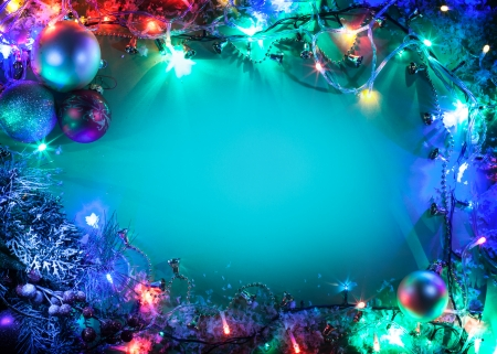 Christmas frame with fir, baubles and fairy lights. Stock Photo - 23878724