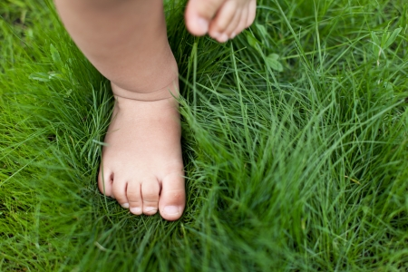 Kleine baby voeten op het groene gras. Stockfoto