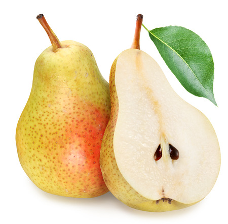 Pears with slice isolated on white background.
